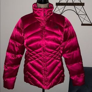 The North Face claret red goose down blend coat